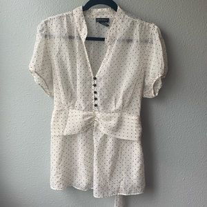 Lane Bryant blouse sz 14/16 plus sheer polka dots